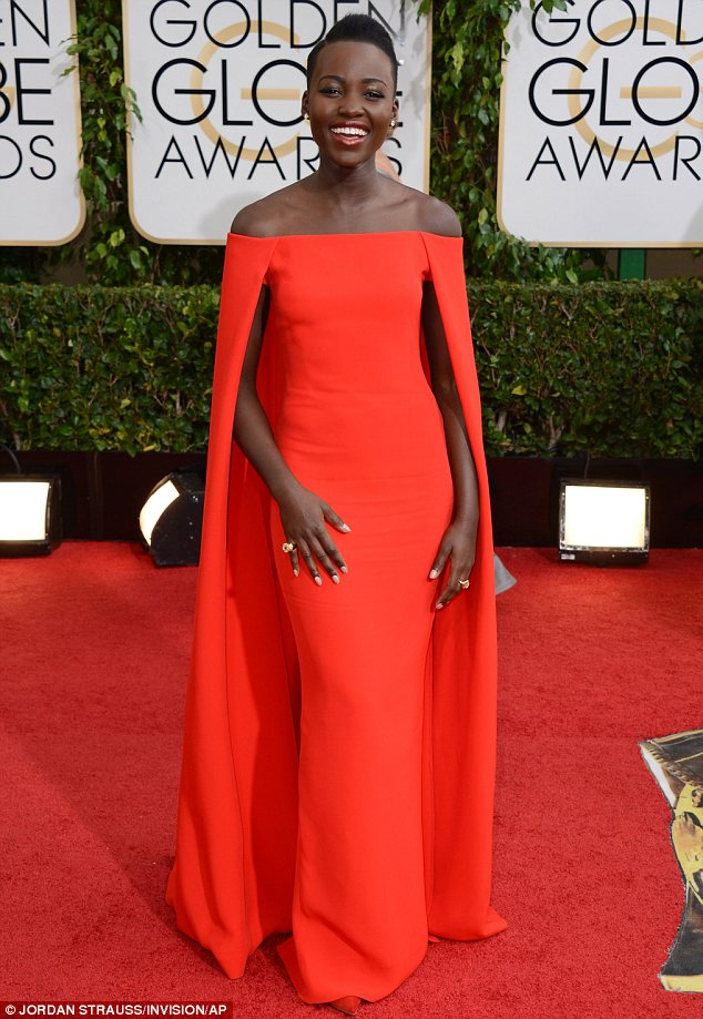 Red, Cape, Dress, red carpet, award season, ralph lauren, 12 years a slave, gown, golden globes
