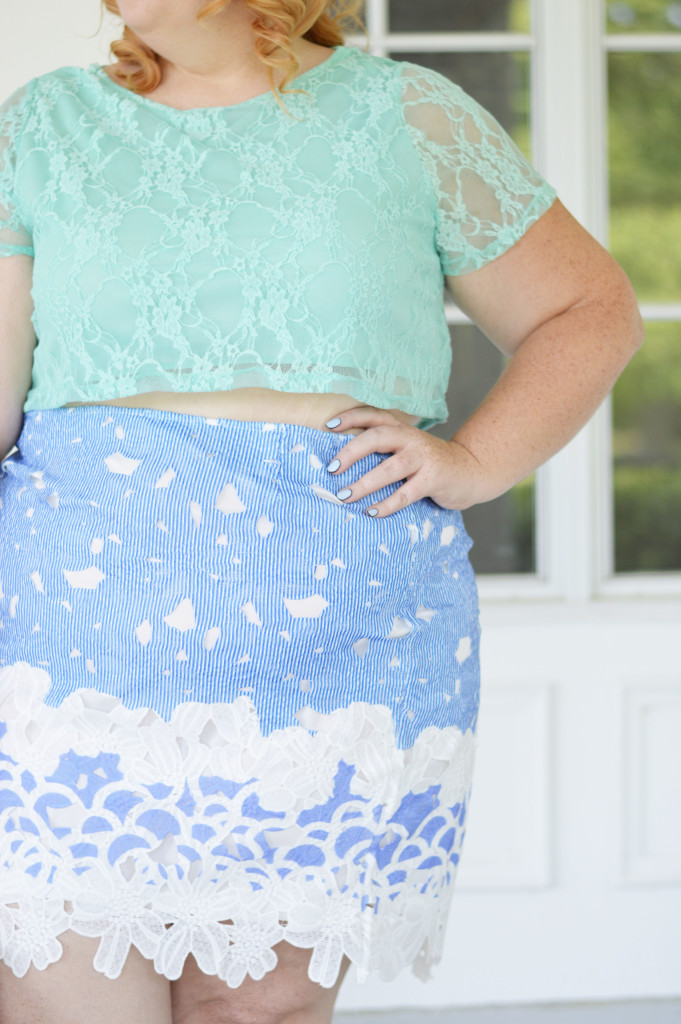 Mindy + Ariel {Blue Lace Skirt + Mint Crop Top} 03