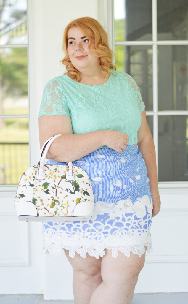 Mindy + Ariel {Blue Lace Skirt + Mint Crop Top} 05