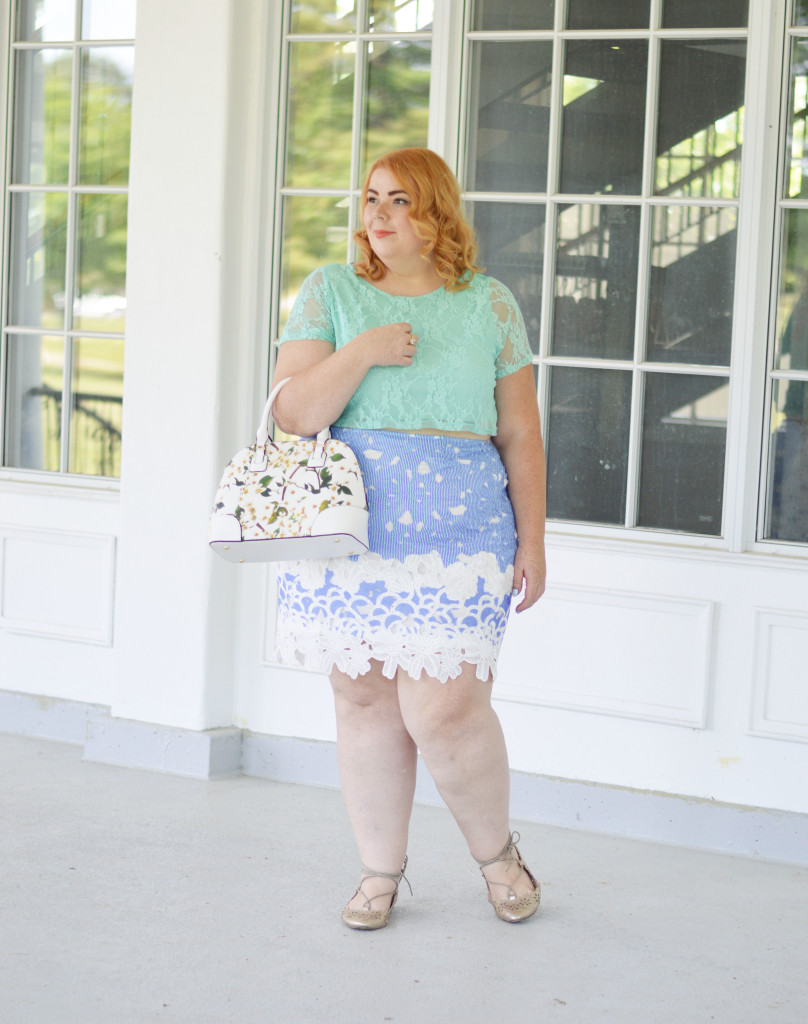 Mindy + Ariel {Blue Lace Skirt + Mint Crop Top} 09