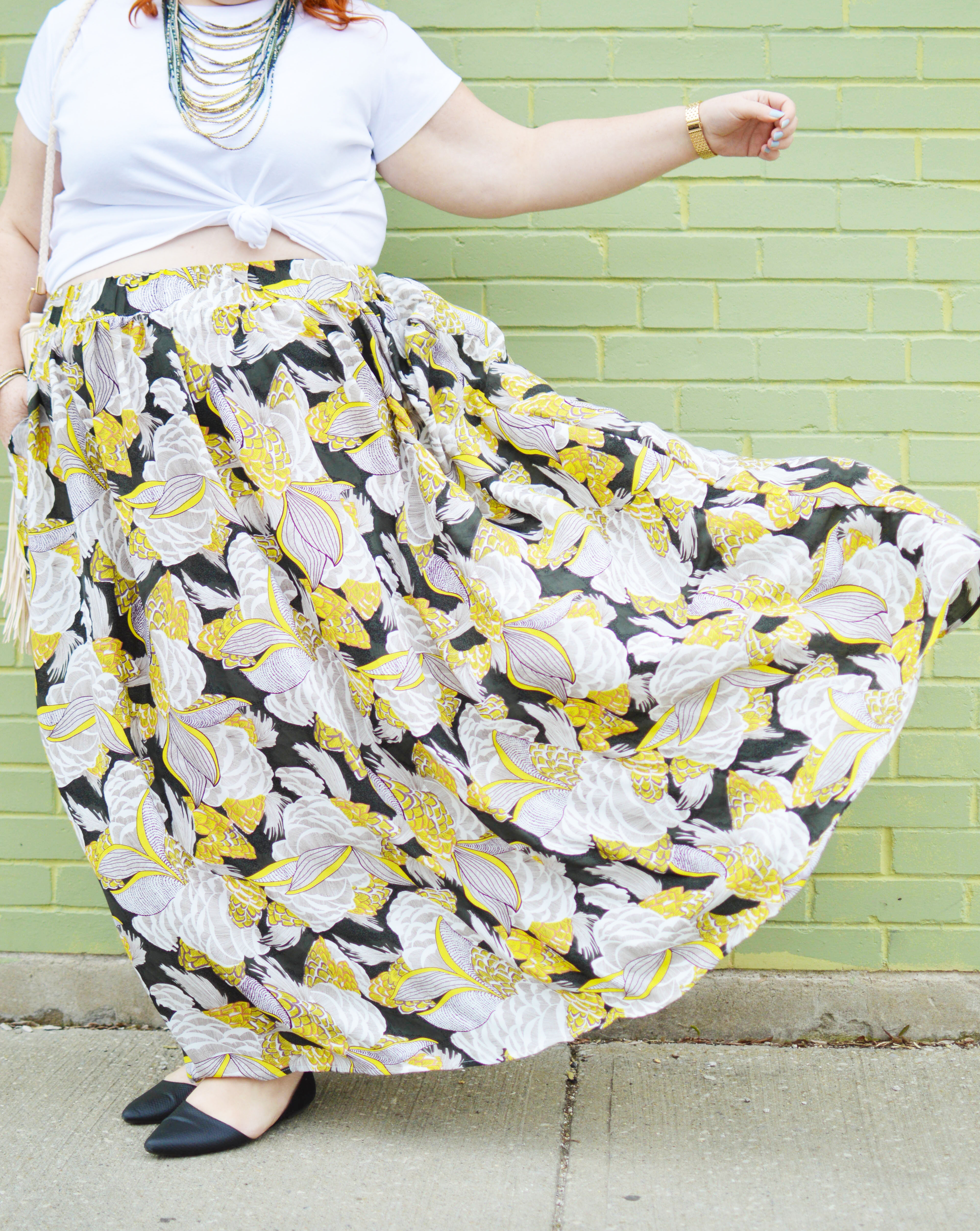 Yellow Twirl Maxi Skirt